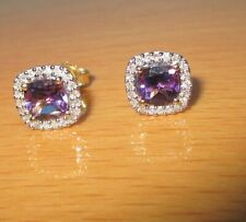 SECONDHAD 9ct YELLOW GOLD AMETHYST & DIAMOND CLUSTER EARRINGS FOR PIERCED EARS