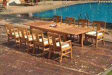 "9pc Grade-A Teak Dining Set 122"" Caranas Rectangle Table 8 Osborne Arm Chair"