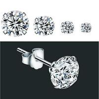 PAIR of Round Clear Cubic Zirconia Stainless Steel Stud Earring Pierced 3mm-8mm
