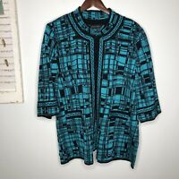 Ming Wang Women's Cardigan Knit Sweater Black Teal 3/4 Sleeves Plus Size 2X
