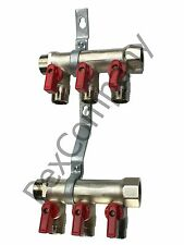 "3 port ball valve Classic manifold for 1/2"" PEX Radiant w/ Mounting Bracket"