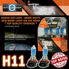 IGNITION H11 80W NIGHT VISION SUPER WHITE XENON HID HEADLIGHT BULBS 6000K