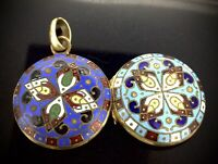 Antique Enamelled Locket Pendant Gilt Metal Colourful in blue tones Magnificent