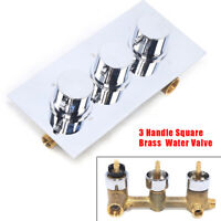 Thermostatic Shower Faucet Valve Bathroom 3-Way Water Valve Wall Mount 3 Handles