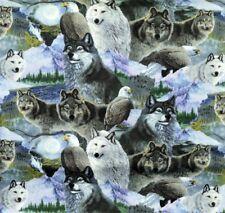 Designer Patchworkstoff Wolf Adler Stoffe Patchwork Wölfe Tiermotive Hunde Tiere