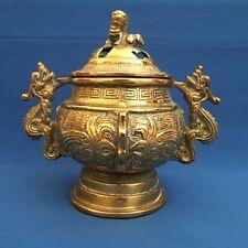 Antique Heavy Chinese Brass Lidded Dragon Censor / Incense Burner