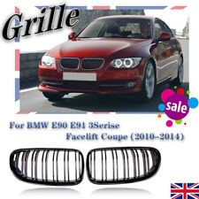 for BMW 3 Series E92 E93 2010-2013 LCI Kidney Grille Grill Gloss Black Dual Line