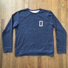 Vintage Men's Obey Propaganda XL Navy Blue Men's Crewneck Distressed Sweater