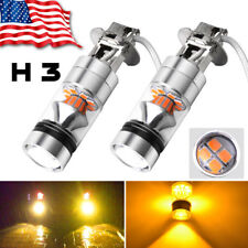 2x H3 100W High Power 2835 20SMD LED  Yellow Fog Driving DRL Light Bulbs US