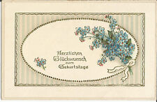Geburtstag, Blumen, Vergissmeinicht, Glückwunschkarte, Glanzkarte mit Goldrägung