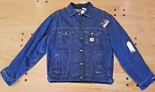 New Men's Carhartt Sherpa Lined Blue Denim Jacket Work Coat -- Large Regular