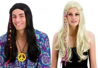 1960s Long Groovy Hippie Wig Party Beads Womens Mens Fancy Dress Hippy