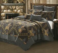 Black Brown Plaid Check Americana Star Primitive Cabin Western FQ Quilt Set