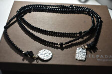 Silpada N1467 Onyx Lariat Necklace Sterling Silver Beaded Black Stone 44""