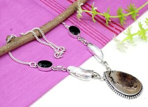 """925 Sterling Silver Montana Agate & MOP Gemstone Jewelry Necklace Size-17-18"""""""