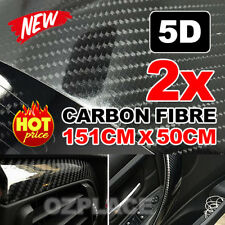 2X 5D 1.51Mx 50cm Gloss Black Carbon Fibre Fiber Vinyl Car Wrap Air Release Film