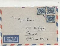 Germany Frankfurt 1952 Posthorn Airmail Stamps Cover to California USA Ref 32271