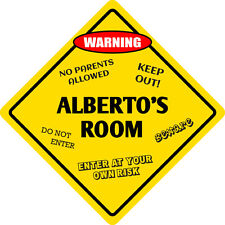 "*Aluminum* Alberto's Room Kids Room Door 12""x12""  Metal Novelty Sign"