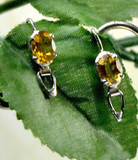 925 Sterling Silver Faceted Natural Oval Faceted Yellow Citrine Dangle Earrings
