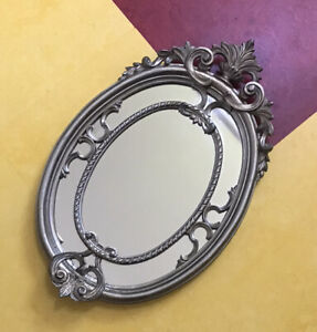 Vintage Carved MIRROR ITALY Antique Silver ORNATE Wall ITALIAN Floral FLORENTINE