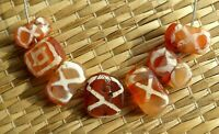 Perle Cornaline Ancien Ancient Agate Etched Carnelian Beads Pakistan Afghanistan