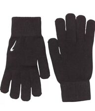 NIKE KNITTED BLACK WINTER GLOVES SWOOSH LOGO FOOTBALL/TRAINING SIZE  L/XL