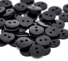 30 Botones de resina de color negro. 9mm. adecuado para coser, scrapbook, botón Art Crafts