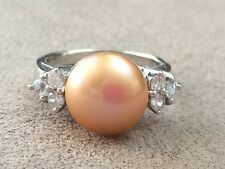 Pearl Sterling Silver 925 Ring with Cubic Zirconia Stones - Size 8