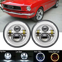"""7"""" Halo LED Headlights For Ford Mustang 1966 1967 1968 1969 1970 1971 1972 1973"""