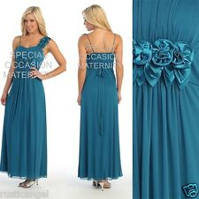 New Long Teal Maternity Wedding Dress Roses LARGE Bridal Evening Gown Chiffon