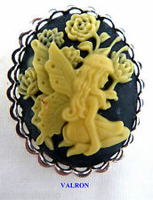 Ladies Cameo Pin Brooch on Silver Plated Mount - Choice of Colour and Boxed Black