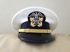 US NAVY - NEW  OFFICER  VISOR  HAT- ALL SIZES - WHITE