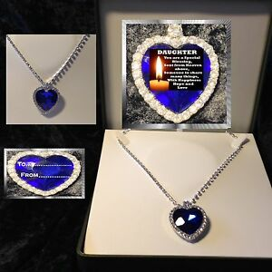 DAUGHTER  VERSE LARGE BLUE CRYSTAL HEART NECKLACE  LUXURY BOX  GIFT BIRTHDAY