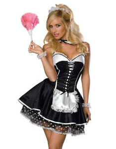 French maid waitress fancy dress costume servant outfit 8-10-12-14-16-18-20