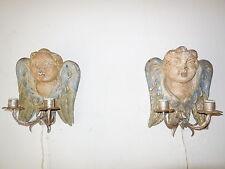 ~c 1880 RARE Italian Hand Carved & Painted Cherub Wood Angel Cupid Sconces~
