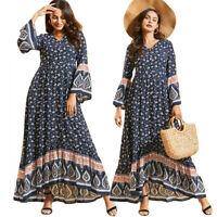 Summer Women Floral Print Long Sleeve Maxi Dress Boho Holiday Beach Party Gown