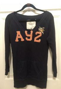 Abercrombie kids sz XL Navy blue kangaroo pocket hoodie embroidered youth