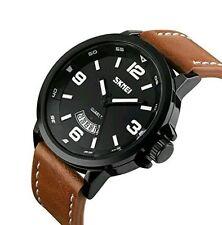 Business Casual Watch Dress Wrist Watch Genuine Leather Strap Analog Quartz Blac