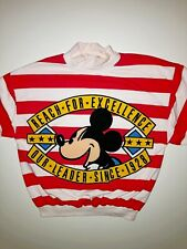 Vintage Disney 1990's Cewneck Sweatshirt Mens M Red Mickey & Co Mouse Striped