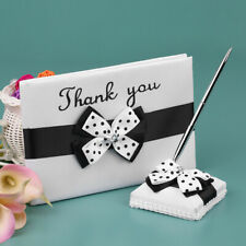 Satin Wedding Guset Signature Book and Pen Stand Set with White Black U7I0