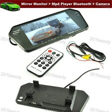 "7"" TFT LCD Screen Car Rear View Mirror Monitor Mp4 Player Bluetooth + CCD Camera"
