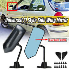 Pair Universal F1 Style Carbon Fiber Look Side Mirrors Bracket Cafe Racer