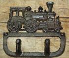 Cast Iron Antique Style TRAIN Coat Hooks Hat Hook Rack Towel Railroad Locomotive