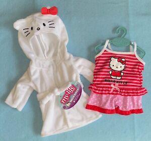"My Life As Hello Kitty Red & Pink Stripe Pajama & White Robe Set for 18"" Dolls"