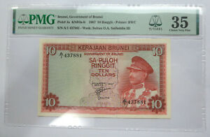 Brunei $10 ten dollars sa-puloh Ringgit, 1967 first series, A/1, Sultan Omar Ali