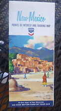 1965 New Mexico road  map Chevron oil gas route 66 Taos Pueblo cover Santa Fe