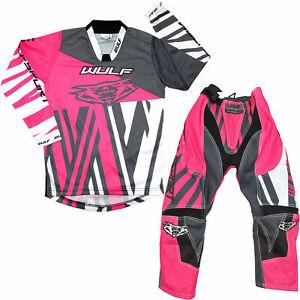 WULF 2021 KIDS VENTUNO MOTOCROSS KART JERSEY PANTS PROTECTIVE CLOTHING PINK