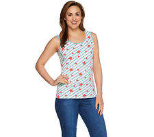 Denim & Co. Star Printed Scoop Neck Tank with Solid Binding in Coral Multi M