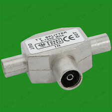 TV Aerial Coaxial Coax Cable T Splitter, Female to 2x Male Combiner Connectors