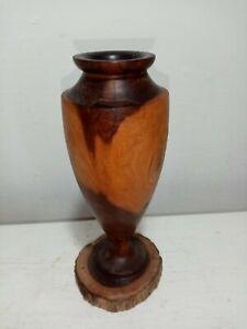 Vintage Crown Mulga Australian Wood Vase.